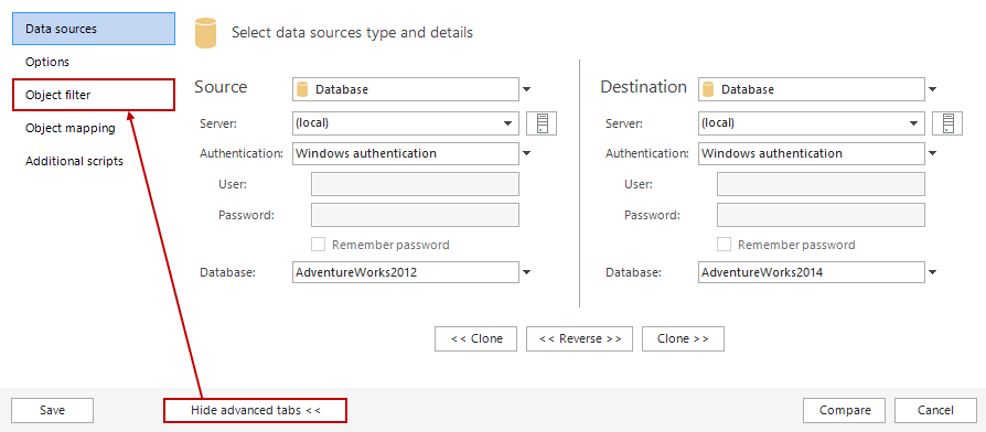how to set options for comparing database data for vs2013