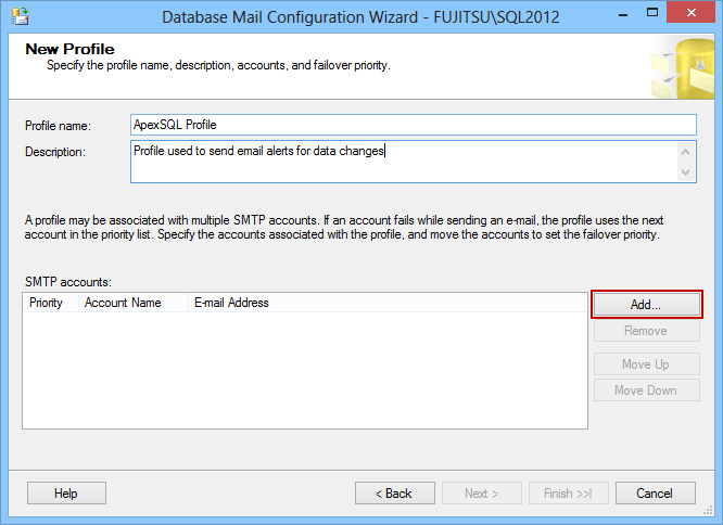 Database mail configuration wizard
