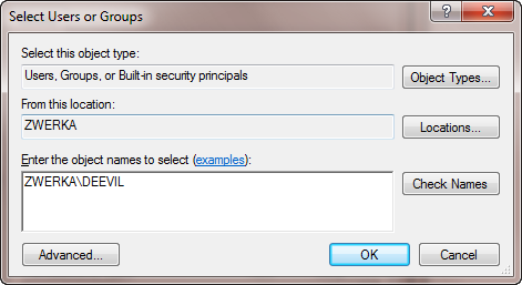The Select Users or Groups dialog
