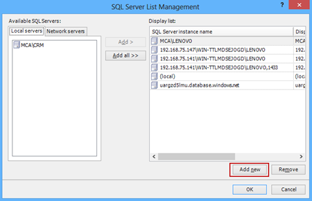 Clicking the Add new button in the Server List Management dialog