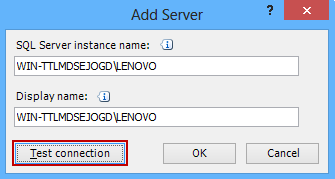 Add Server dialog - typing the SQL Server instance name