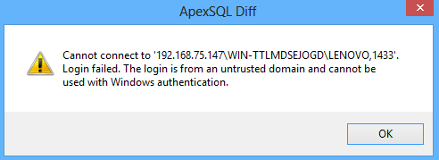 Issues with Windows Authentication - ApexSQL Diff error message