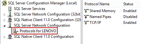 Selecting Protocols for <your server name> under the SQL Server Network Configuration