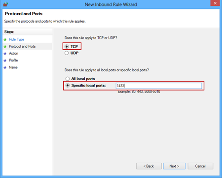 Configuring protocols and ports in the New Inbound rule wizard