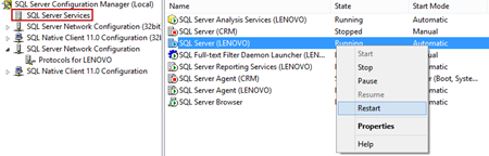 Right-clicking SQL Server (instance name), and clicking Restart