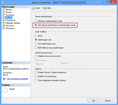 Setting the Server authentication to SQL Server and Windows Authentication mode