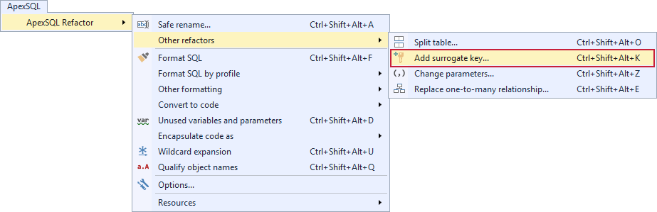 Selecting the Add surrogate key command from the ApexSQL Refactor menu