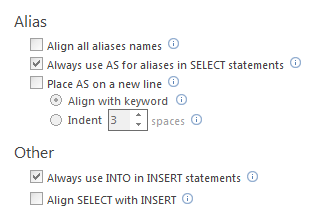 SQL Formatting options for Aliases and Other in the Data statements tab