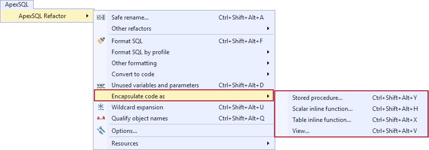 Selecting the Encapsulate code as under the ApexSQL Refactor menu