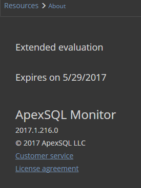 Extended Evaluation dialog in ApexSQL Monitor