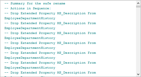 Summary dialog showing actions and warnings at the beginning of the generated SQL script