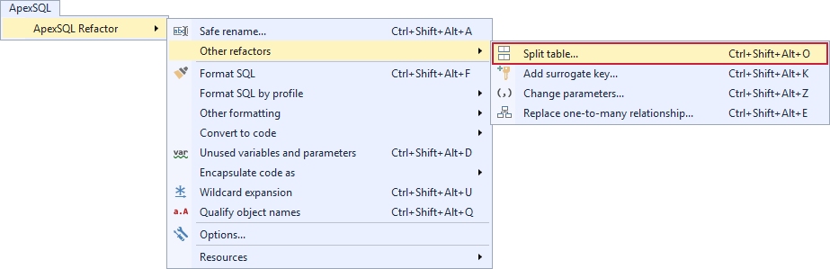 Choosing the Split table command under the ApexSQL Refactor menu