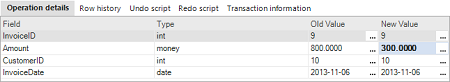 The Operation details pane, showing additional information for the selected SQL transaction