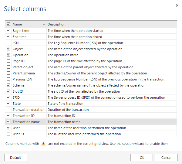 Using the Select columns option on the View tab in ApexSQL Log
