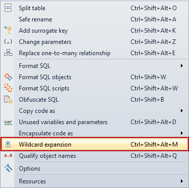 Selecting the Wildcard expansion command from the ApexSQL Refactor menu