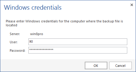 Windows credentials dialog