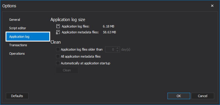 Clicking the Application log in the options dialog