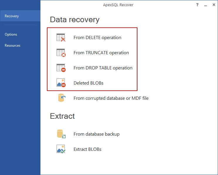 Data recovery options in ApexSQL Recover