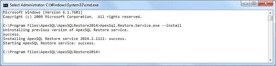 Result displayed in Command prompt
