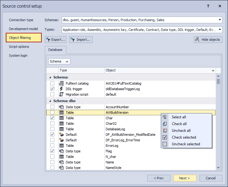 The Object filtering tab in the Source control setup window
