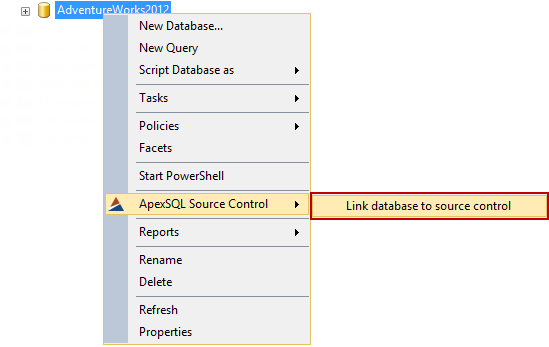 Selecting Link database to source control from the ApexSQL Source Control submenu