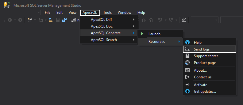 How to send log files from ApexSQL tools