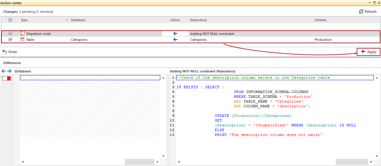 How to add NOT NULL constraint to a column using a migration script ...