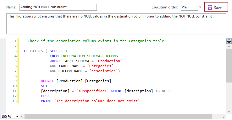 Before the migration script part it is ensured that the migration script is executed if the appropriate column exists (in this case the description column) ...  sc 1 st  ApexSQL knowledgebase & How to add NOT NULL constraint to a column using a migration script ...