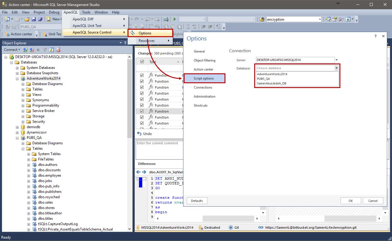 Script comparison and synchronization options in ApexSQL