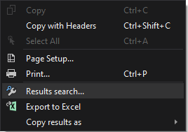 Results search command in the context menu
