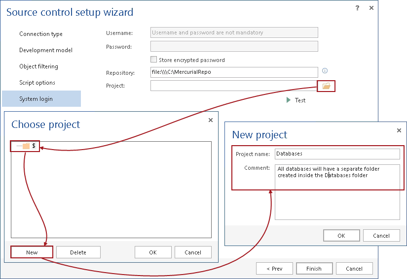 How to link a SQL Server database to a Mercurial repository