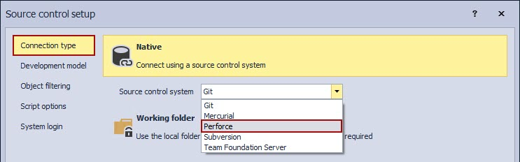 How to find a Perforce source control system in the Connection type tab of the Source Control setup window