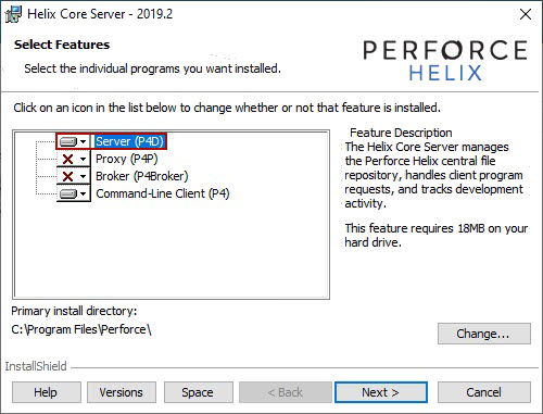 The Helix Core Server instalation window