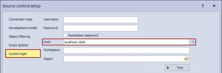 The Host field in the System login tab of the Source control setup window