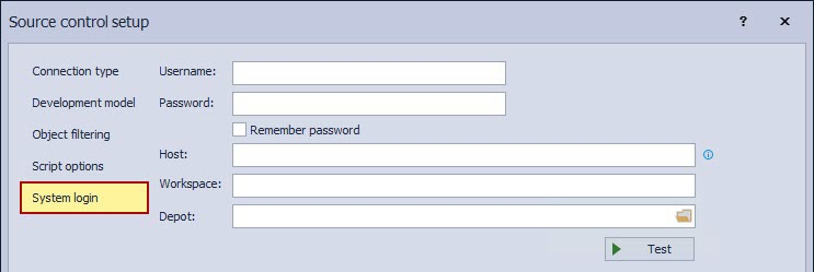 The System login tab in Source control setup window