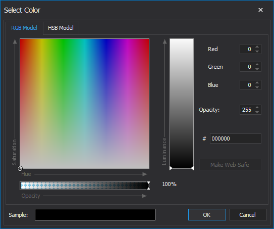 Select Color window
