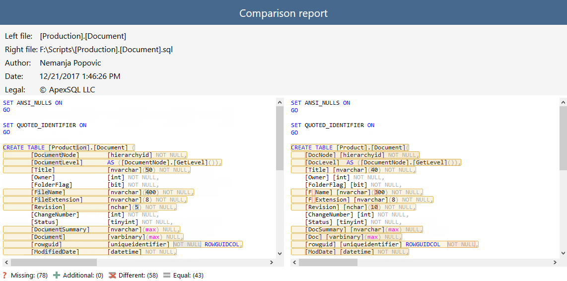 How to compare two SQL scripts/objects and export comparison