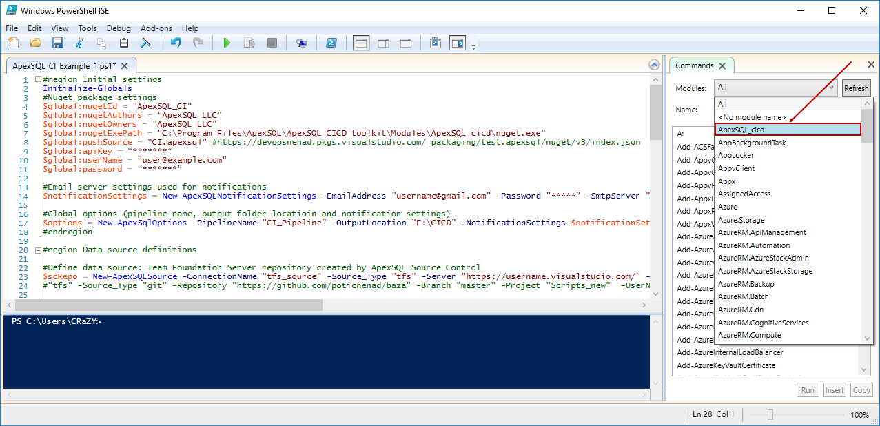 ApexSQL DevOps toolkit PowerShell scripts initial setup and