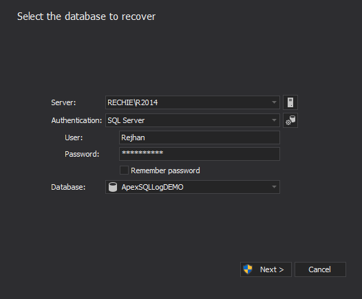 Select the database to recover - Entering credentials