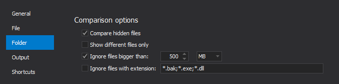 Comparison options for folder comparison under the Folder tab in the Options window
