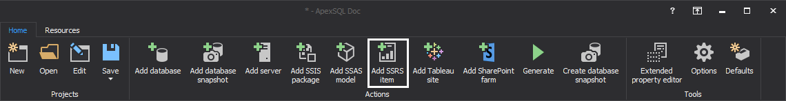 Add SSRS items option under Action section