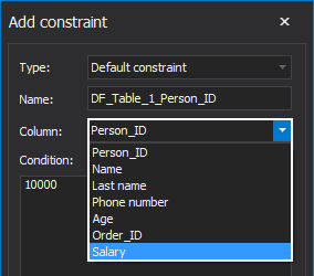 Create a Default constraint