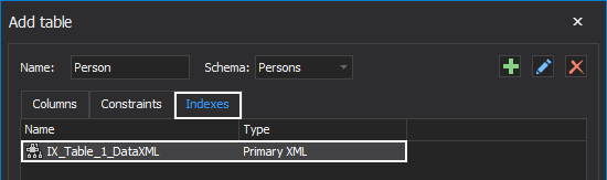 Created Primary XML index