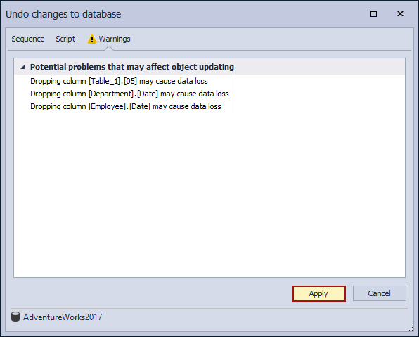 Database source control - the Undo changes to database window - the Apply button