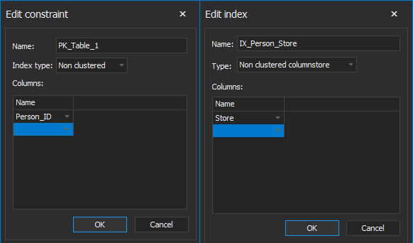 Edit constrains and index window