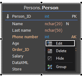 Edit table feature using right-click context menu