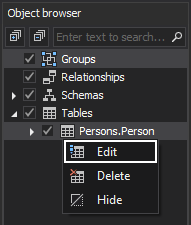 Edit table feature using the Object browser pane