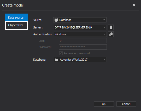Import only selected object form the database