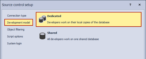 Linking a database to the dedicated development model