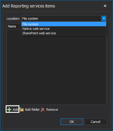 Location options for adding reporting services items